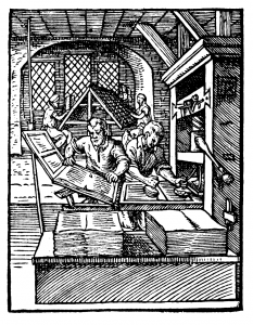 woodcut of a printing press